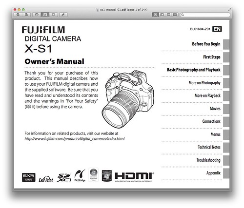 Fujifilm X-S1 Manual