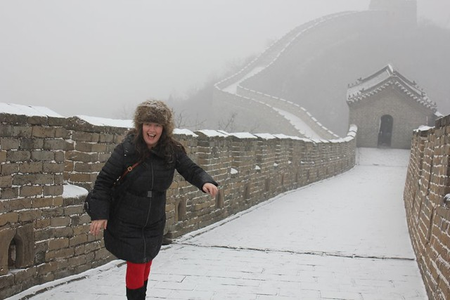 At the Great Wall of China earlier today, almost falling over. Gorgeous there in the snow. Now it's 20 deg C in HK at midnight. I'm confused.