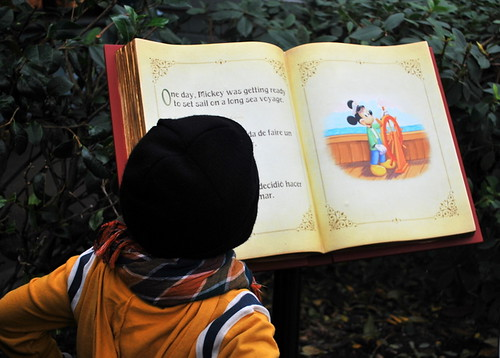 EJ reading Mickey and Duffy story