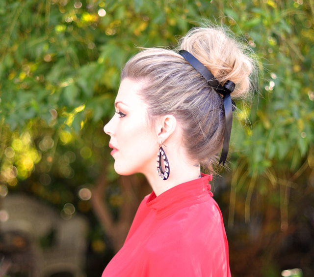 hair-bun-ribbon in hair -bun with ribbon