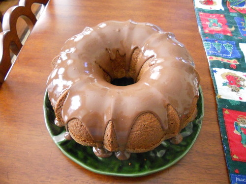 Banana Coconut Pound Cake with Nutella Glaze