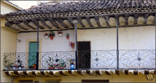 Beautiful  wrought iron balcony at Arbeteta (Guadalajara, Spain) / Bonita balconada de hierro forjado en Arbeteta /Guadalajara)