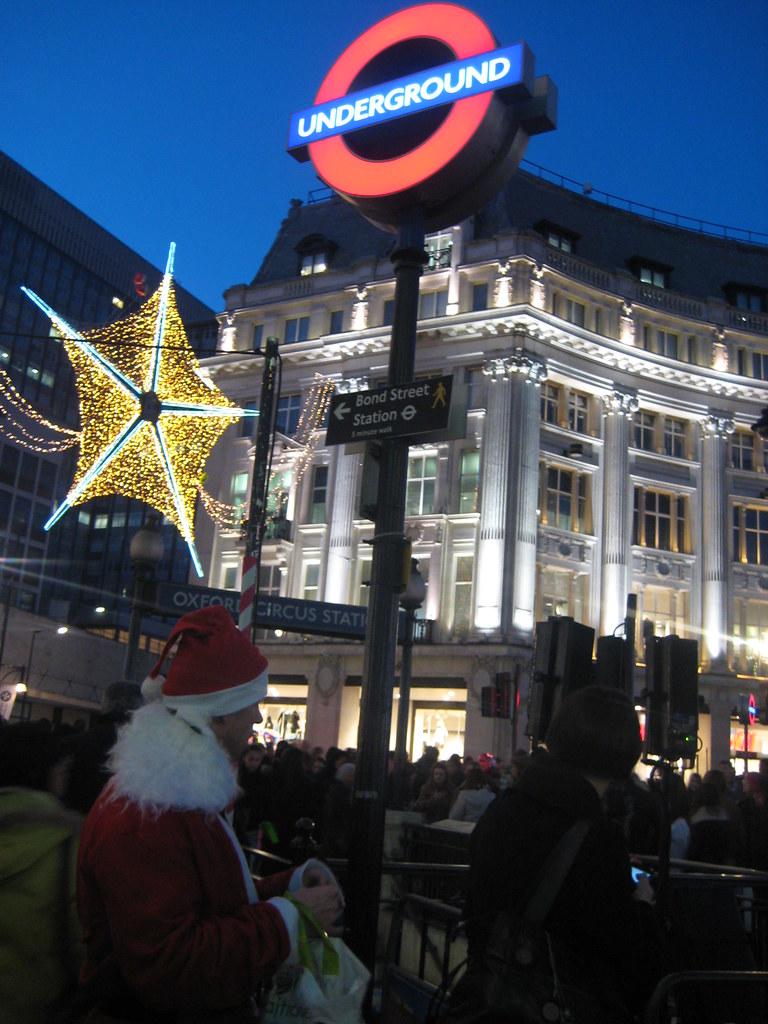 Santa at Oxford Circus Tube - Santacon 2011