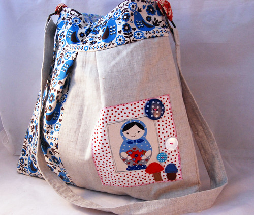 Strappy Matryoshka and Mushrooms Bag in Linen. by Once upon a time in the north
