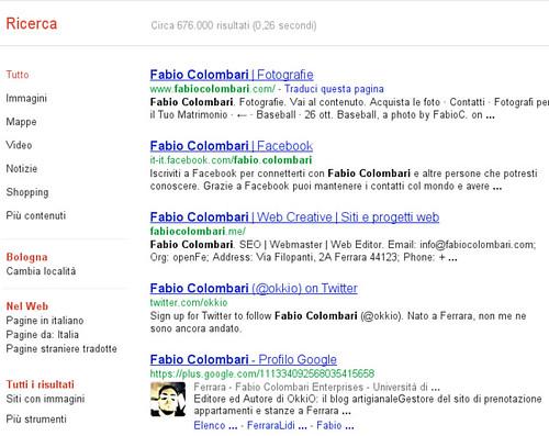 Serp Google per Fabio Colombari