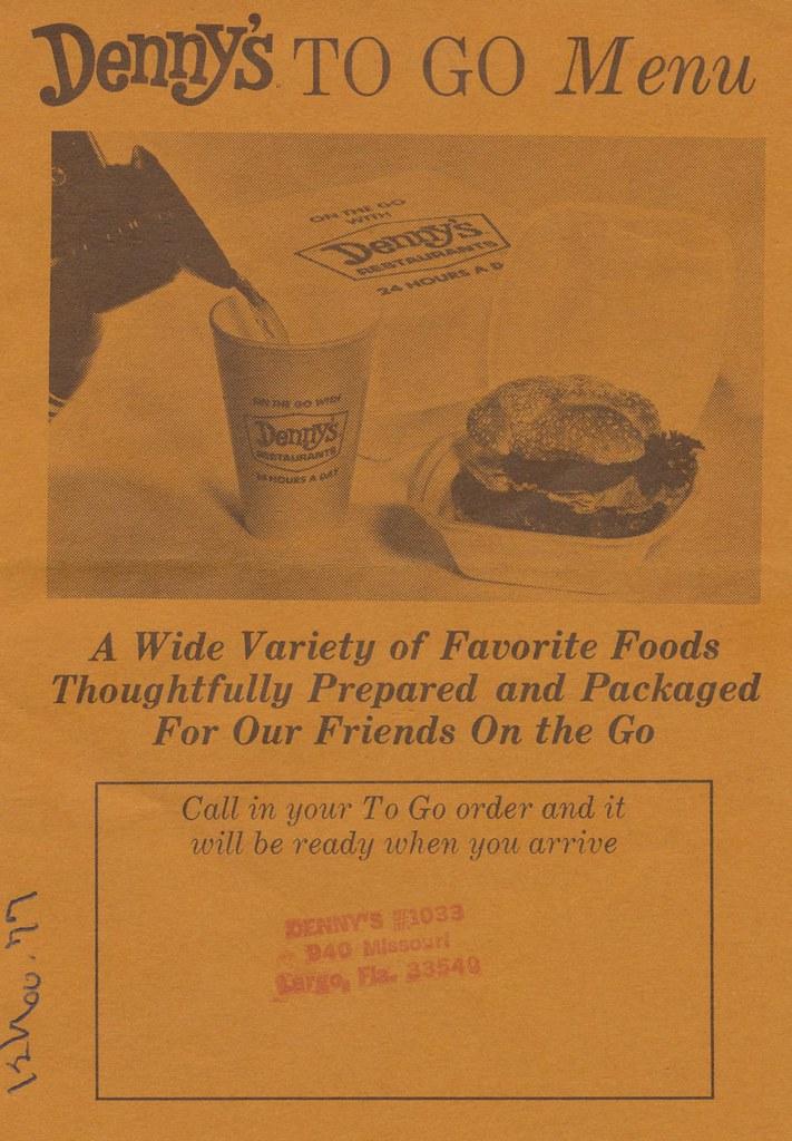 1977 Denny's To-Go Menu