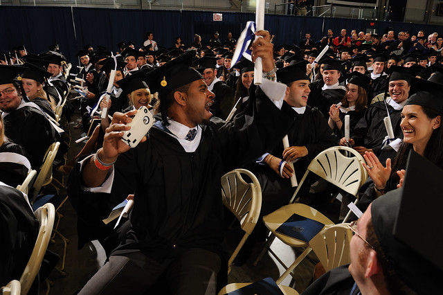 Members of the Class of 2011 celebrate at Commencement