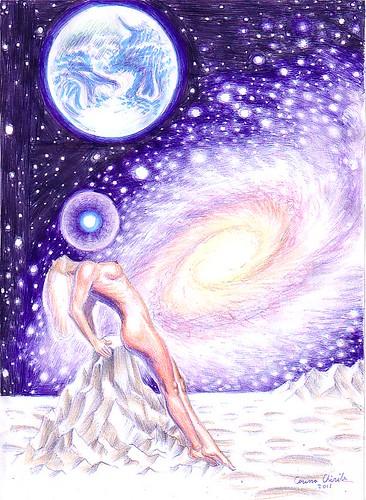 O Eva cosmica un nud feminin si o galaxie desen in pix