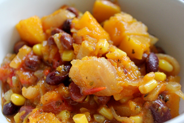 Pumpkin, bean & corn stew
