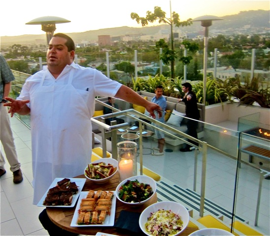 chef eric greenspan at hotel wilshire roof