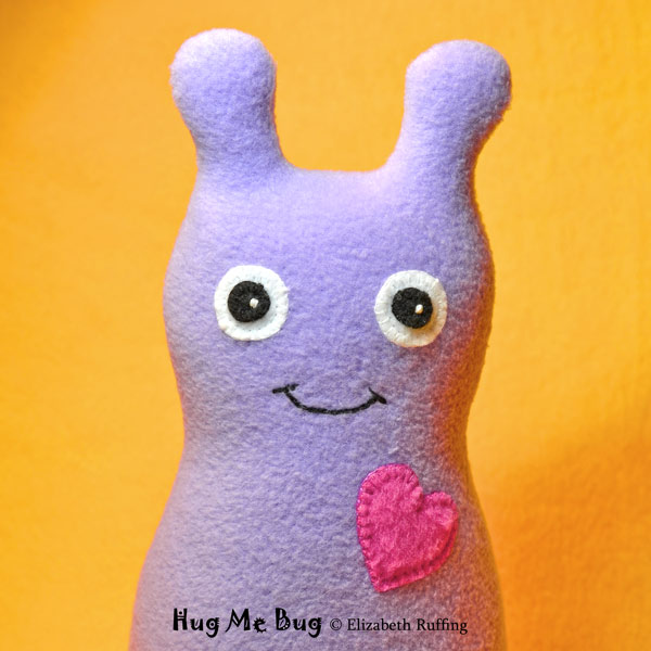 Lavender fleece Hug Me Bug, original art toy by Elizabeth Ruffing