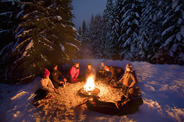 Snowshoe and Bonfire by Mt Hood Adventure