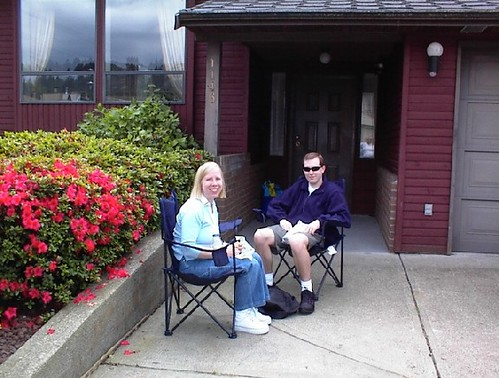 Outside our house on the day we took possession