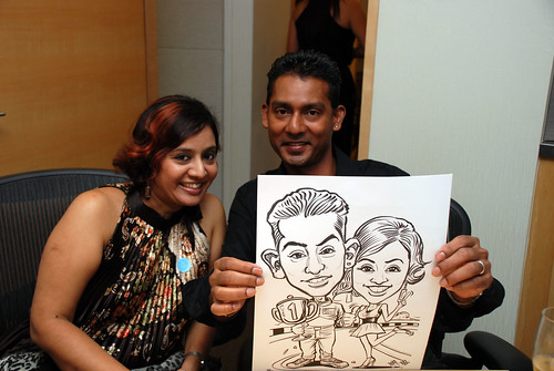 caricature live sketching 2011 Formula 1 RR Donnelley Party - 5