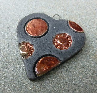 Copper Dots Raku Pendant
