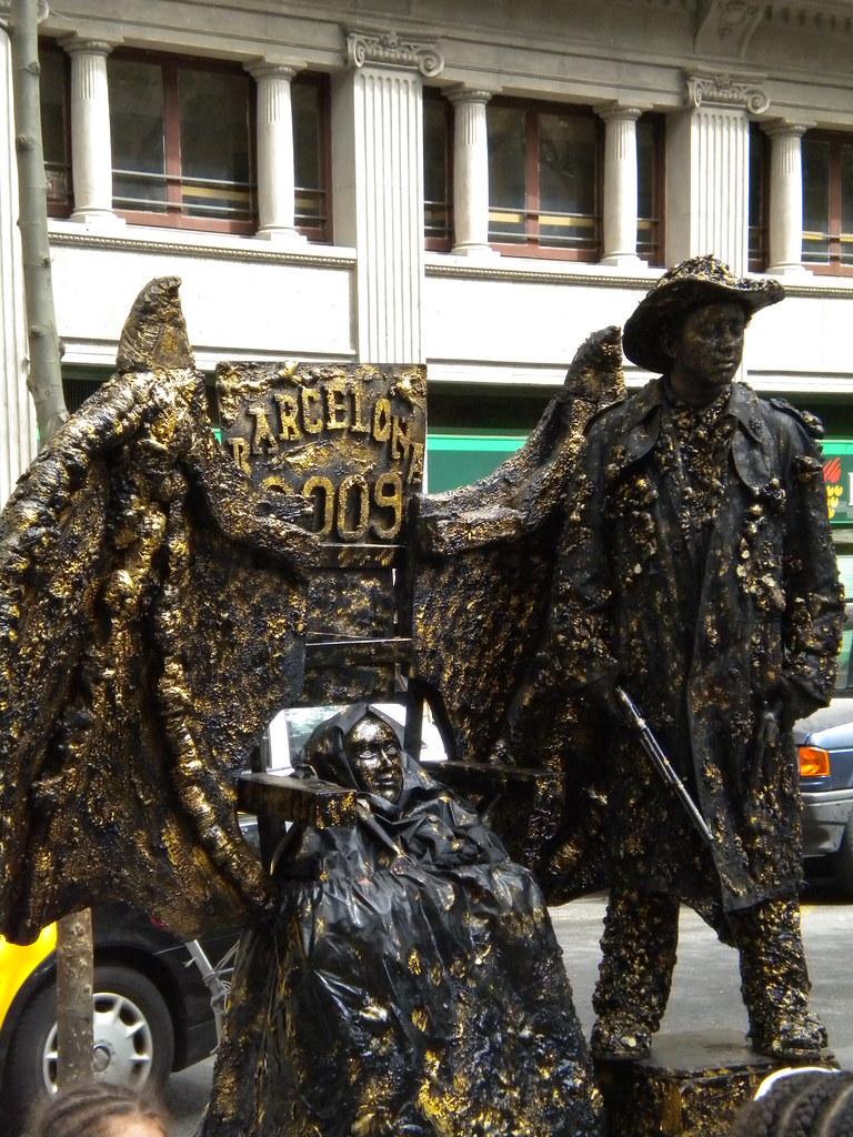 Estatuas vivas en las Ramblas