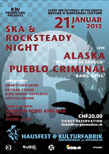 r3v Ska & Rocksteady Night - Flyer - 21.01.2012 - PUEBLO CRIMINAL