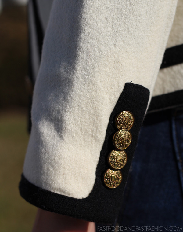 Fanfare jacket in felted wool button detail gold brass