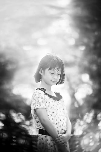 無料写真素材, 人物, 子供  女の子, モノクロ, マレーシア人