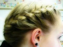 face, hairstyle, french braid, hair, ear, brown hair, blond, eyebrow, forehead, organ,