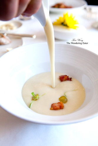 Parnsip soup with compressed pear and house cured bacon