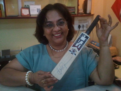 Sue/Susan John with Brian Lara Autographed/Signed bat