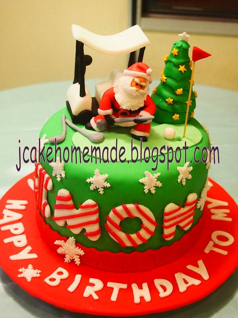 Christmas and Golf birthday cake  Flickr - Photo Sharing!