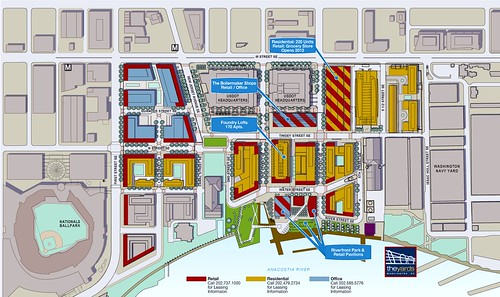 The Yards site plan (red=retail, blue=office, gold=residential (Forest City Washington via All Things Retail)