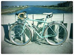 My new bike at the mustache bridge: