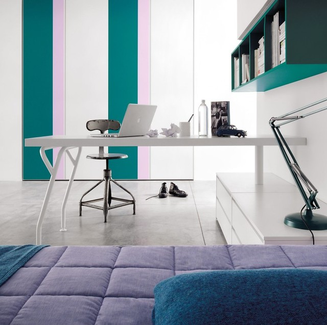 Bright-Teal-Lilac-Striped-Kids-Room-with-Unique-White-Kids-Desk