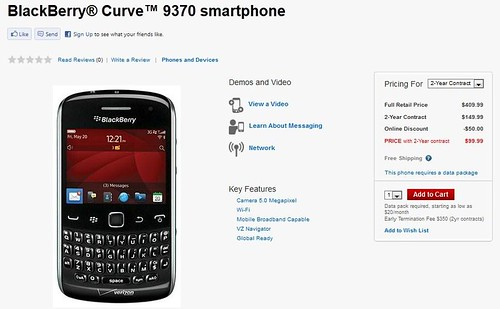 BlackBerry Curve 9370 smartphone