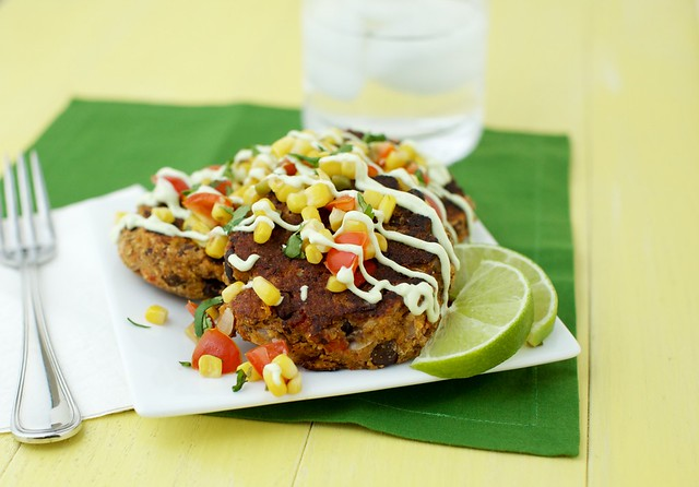 Black Bean Patties with Corn Relish and Avocado Cream Sauce