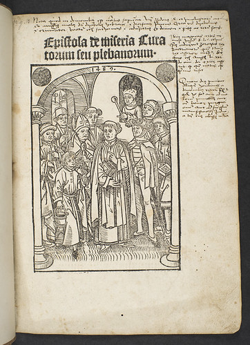 Illustrated title-page of Epistola de miseria curatorum