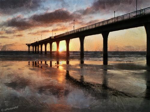 ocean sea newzealand christchurch sun reflection silhouette sunrise landscape dawn pier pacific jetty canterbury nz sunup daybreak beash newbrighton