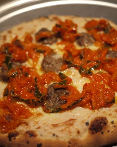 Pizza w/ Brandade, meatballs, kimchi