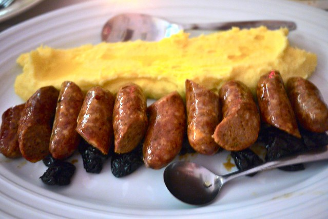 ... pork shoulder sausage with boozy prunes and buttermilk whipped mashed