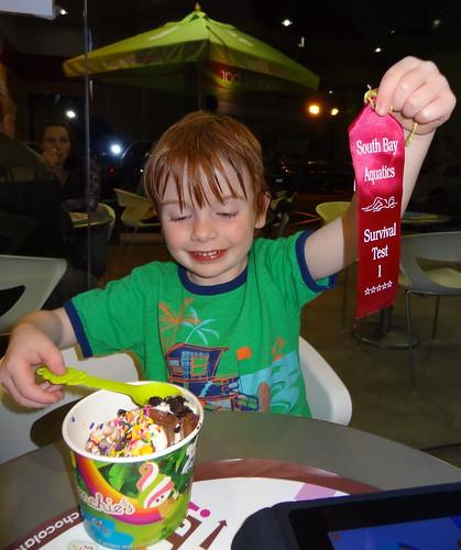 Henry Celebrates Passing Swim Test