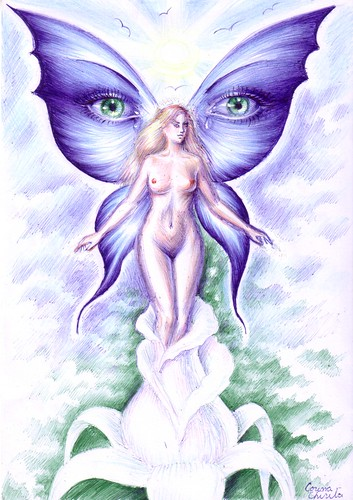 Spring fantasy drawing - O zana a primaverii si a florilor cu aripi frumoase de fluture cu ochi pe ele 2
