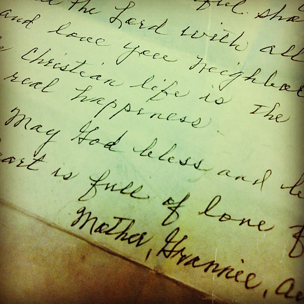 Letter from my Grannie when she turned 95. She'll be 98 this year! #febphotoaday #words #grannie #GodBless