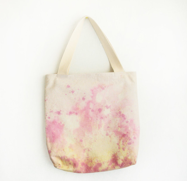 pinks and yellow texture tote
