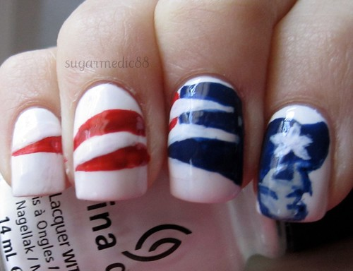 New England Patiots Super Bowl Nails
