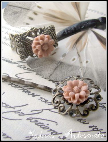 Conjunto anel e gancho rosa velho by kideias - Artesanato