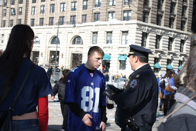 Teen gets busted for alcohol at the NY Giants Parade