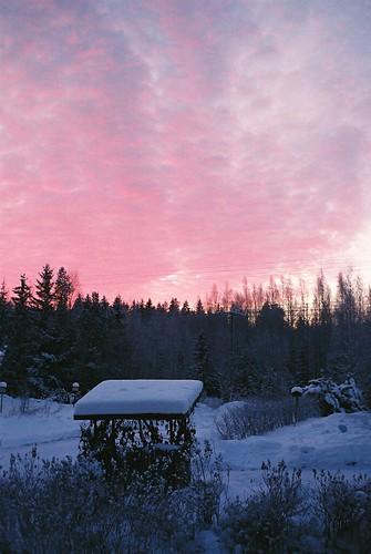 winter sunset sky snow film clouds olympustrip35 olympustrip orimattila