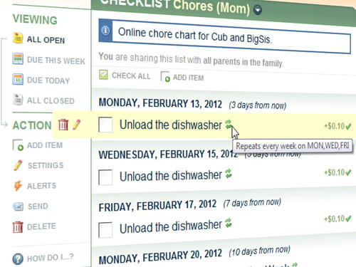 Upcoming Chores on a FamZoo Online Chore Chart