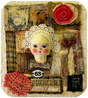 mixed media fabric assemblage