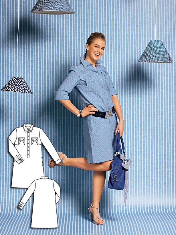 Women's shirt dress sewing pattern 111 052010