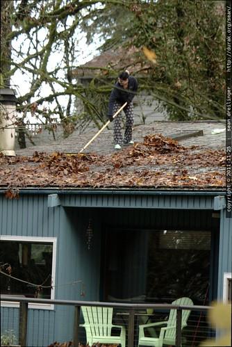 rooftop rachel, sweeping leaves    MG 2708
