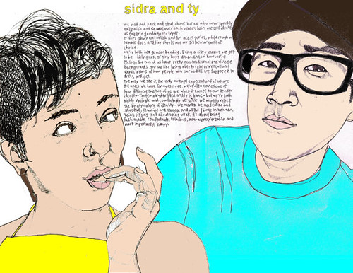 This calendar page says sidra and ty at the top in yellow block handwriting. Underneath their names are a couple handwritten paragraphs that are too small to read. Two people are shown on this page, one on the right side of the writing and the other on the left side. The one on the left is shown biting their fingernails and looking over at the other person. They have shaggy hair on top of their head and have the sides shaved. They're wearing a yellow halter with a floral pattern. The person on the right is looking right at the camera. They have a black hat, turquoise shirt, and thick-rimmed black glasses on.
