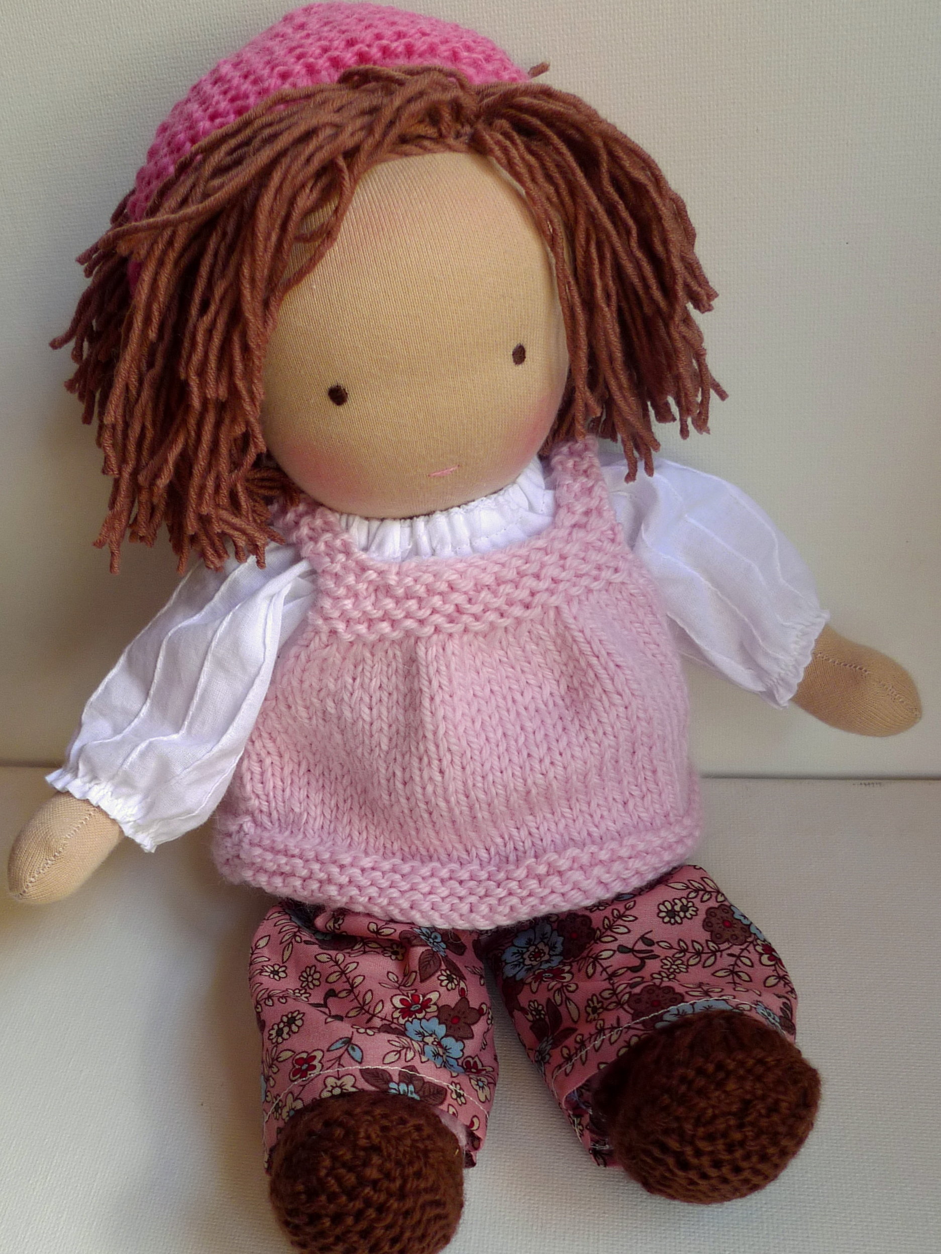spring outfit -  blouse, trousers, knitted pinafore, headscarf and shoes